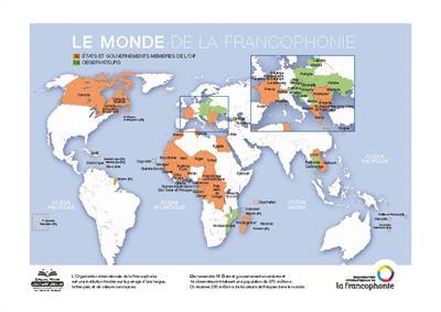 خرید پوستر نقشه کشورهای فرانسوی زبان